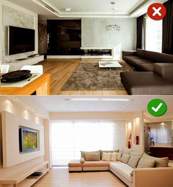 Đặt Tivi sai vị trí_Top 10 sai lầm khi trang trí phòng khách nên tránh