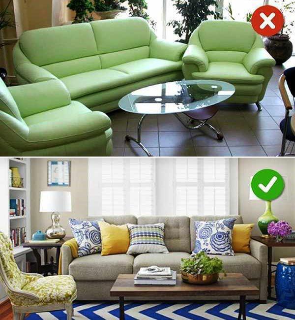 Lựa chọn màu sắc không phù hợp với không gian_Top 10 sai lầm trang trí phòng khách