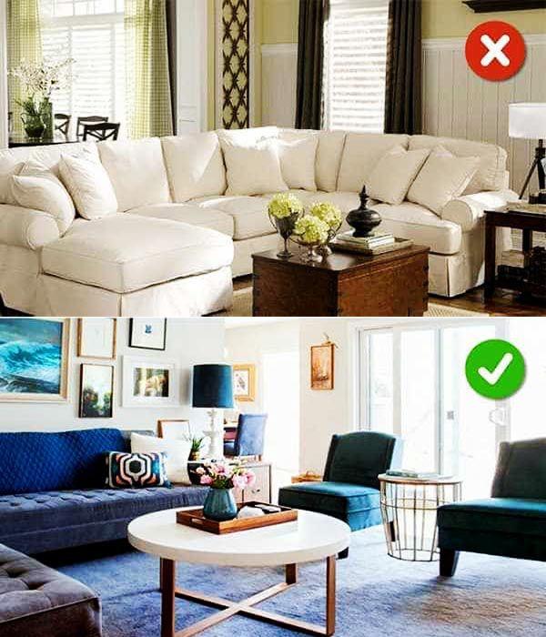 Mua đồ nội thất quá lớn so với không gian phòng khách là sai lầm lớn_Nadu Furniture