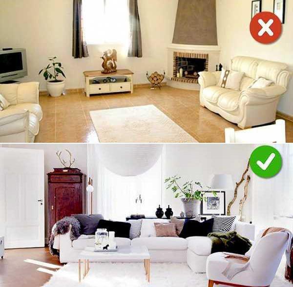 Top 10 sai lầm với cách sắp xếp nội thất phòng khách _ Đặt thảm sàn sai vị trí