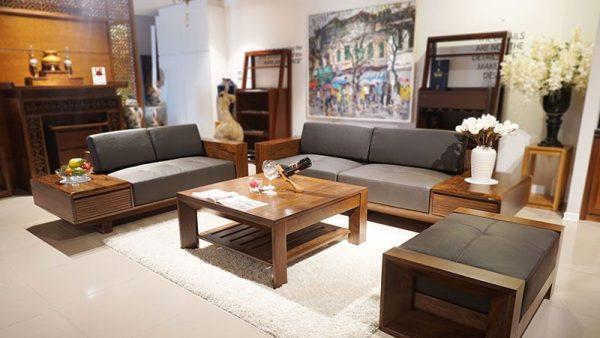 Sofa gỗ óc chó cao cấp - Nội thất Nadu Funiture