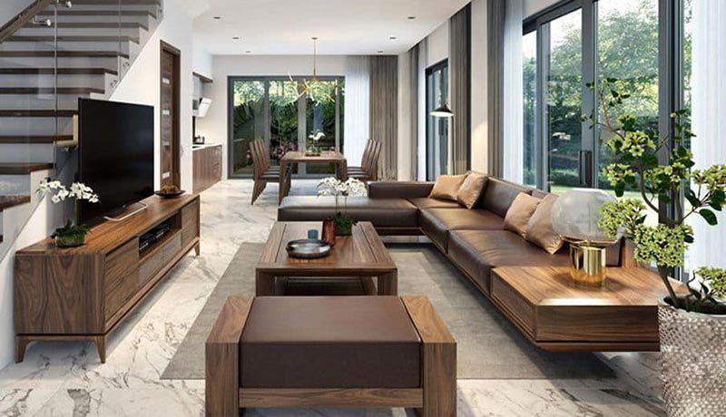 Sofa gỗ óc chó mẫu SF111 - Nadu Furniture