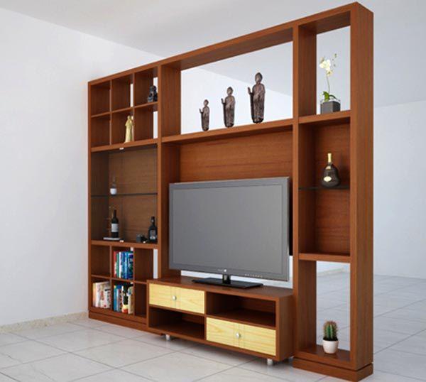 Kệ gỗ trang trí kết hợp với kệ tivi cho không gian thêm tiện ích