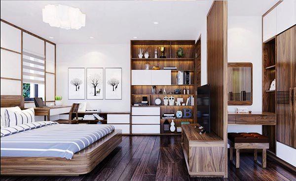 Kệ tivi kiểu vách ngăn giúp chia không gian sử dụng và tiết kiệm diện tích_ Nadu Furniture