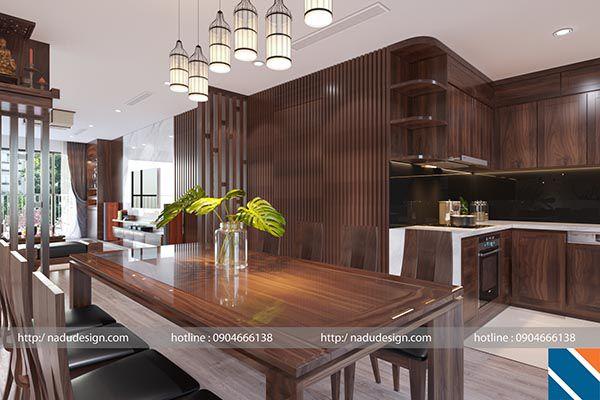 Nội thất phòng khách sang trọng với nội thất gỗ óc chó tại Nadu Furniture
