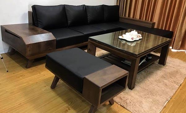 Đệm ghế gỗ phòng khách bằng da màu đen sang trọng - Nadu Furniture