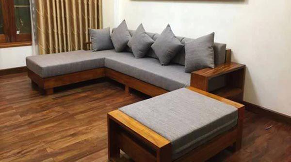 Đệm ghế gỗ phòng khách bằng nỉ Tone Xám - Nadu Furniture