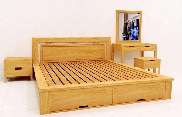 Bàn trang điểm và Giường ngủ gỗ thông đẹp