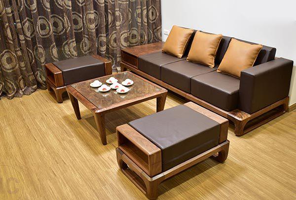 Bộ bàn ghế gỗ óc chó mini sang trọng cho phòng khách - Nadu Furniture
