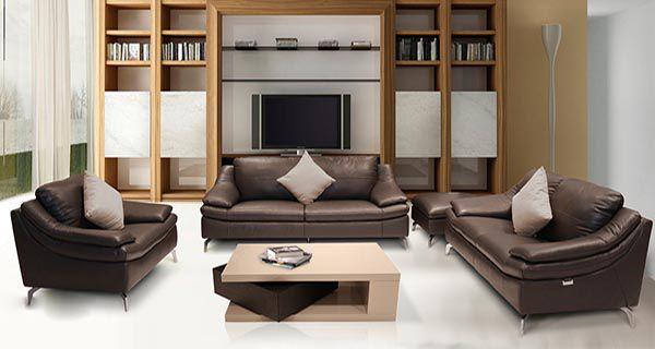 Bộ sofa chân Inox bọc da mã SFG 401
