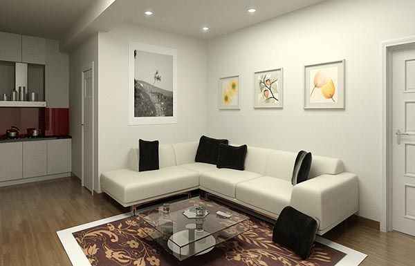 Bộ sofa góc màu trắng gối đen với gam màu trang nhã - Nadu Furniture