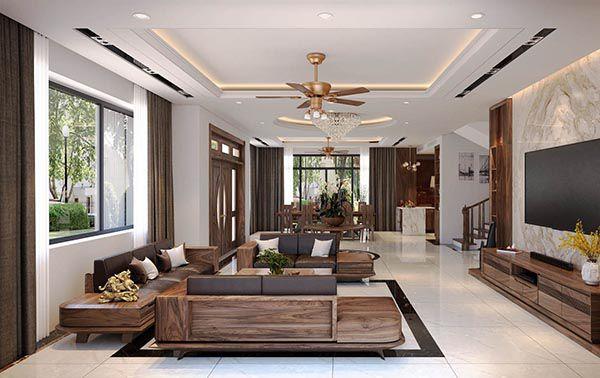 Bộ sofa gỗ phòng khách là tâm điểm của căn phòng