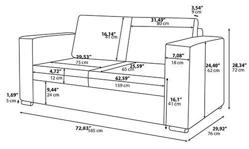 Kích thước chuẩn của sofa văng 2 chỗ