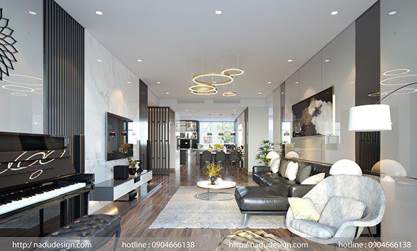 Kết hợp phòng khách và phòng bếp hài hòa là phong cách đang được ưa thích hiện nay