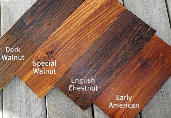 Màu gỗ óc chó theo từng loại sơn khác nhau