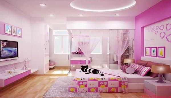 Màu sơn phòng ngủ hồng cánh sen đang hot với các cô gái cá tính hoặc phòng ngủ cho các con