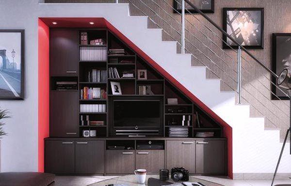 Mẫu Kệ tivi dưới chân cầu thang âm tường đen đỏ