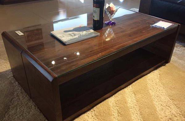 Mẫu bàn sofa kính gỗ óc chó BTG101 - Nadu Furniture