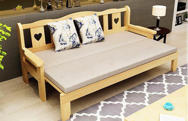 Mẫu sofa giường gỗ có thể kéo thành giường nghỉ