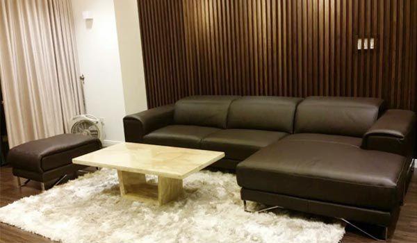 Mẫu sofa phòng khách bằng da kết hợp với bàn đá sang trọng - Nadu Furniture