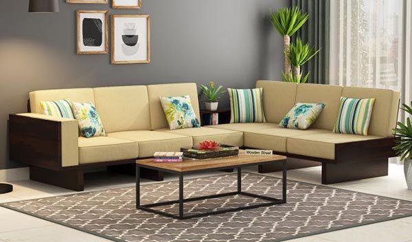 Một bộ ghế sofa chữ L dài áp sát vào tường là gợi ý tuyệt vời cho phòng khách rộng