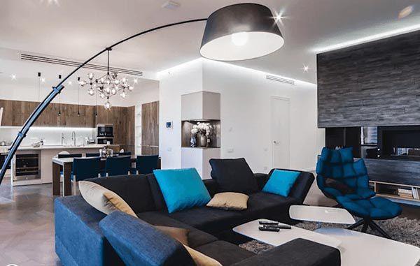 Phòng khách hiện đại với các nhóm màu sắc khác nhau