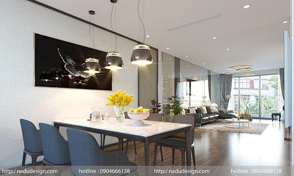 Phòng khách sang trọng và hiện đại với nội thất gỗ óc chó caoc cấp