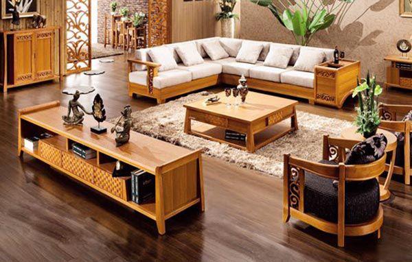 Sofa gỗ luôn là lựa chọn ưu tiên số 1 của phòng khách