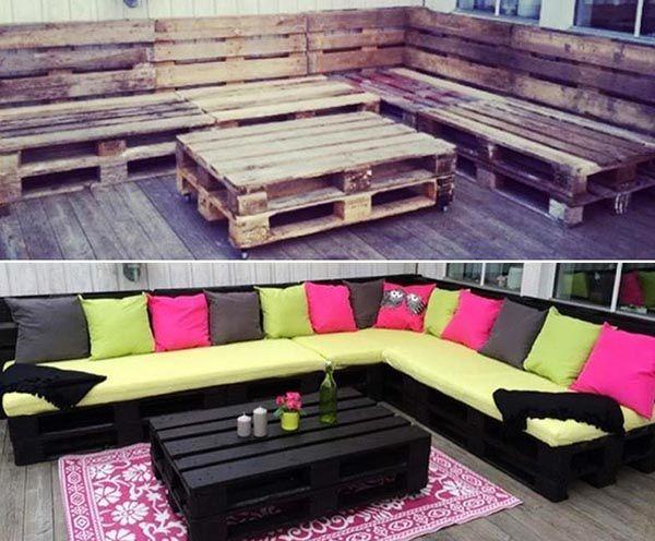 Sofa pallet gỗ cũ sơn màu đen cho phong cách cổ mới lạ