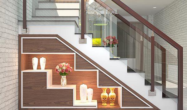 Tận dụng gầm cầu thang làm tủ rượu cho gia chủ thích rượu ngoại