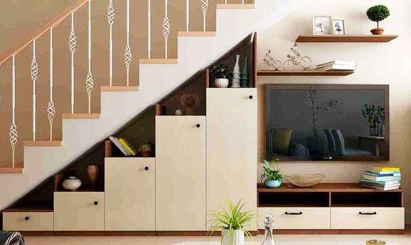 Tận dụng gầm cầu thang làm tủ trang trí độc đáo và tiết kiệm diện tích - Nadu Furniture