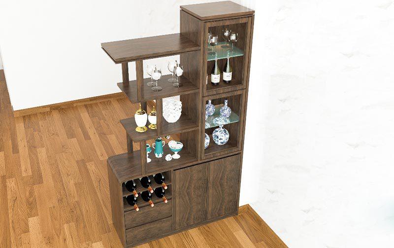 Tủ rượu gỗ phòng khách đơn giản mà hiện đại