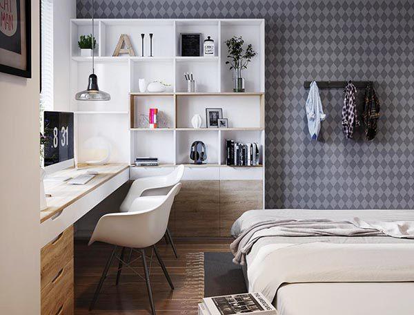Thiết kế bàn làm việc kép trong phòng ngủ tiện dụng và tiết kiệm rất nhiều diện tích - Nadu Furniture