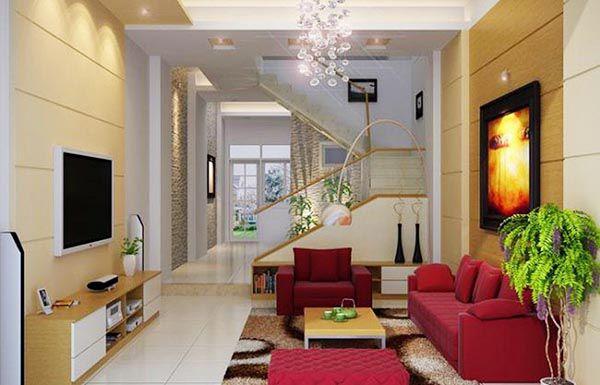 Thiết kế phòng khách nhỏ hẹp với các gam màu tương phản