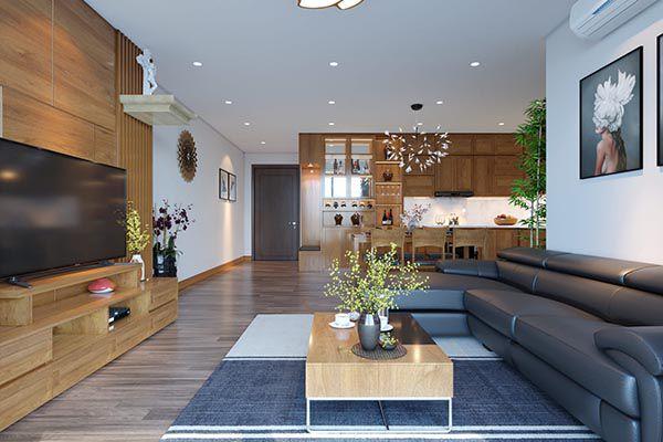 Thiết kế trang trí phòng khách rộng và dài đơn giản với nội thất gỗ cao cấp - Nadu Furniture