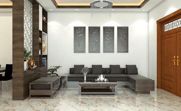 Trang trí nội thất phòng khách cao cấp bằng gỗ công nghiệp