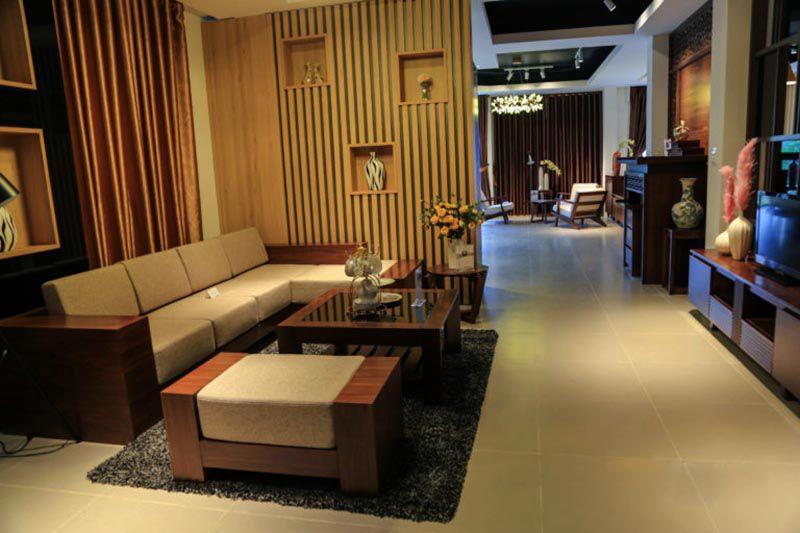 Bộ sofa gỗ óc chó mã SFG 104 - Nadu Furniture