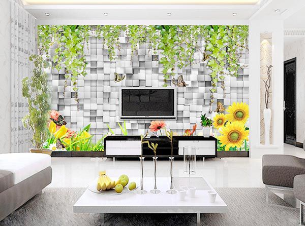 Mẫu dán tường 3d phòng khách ấn tượng