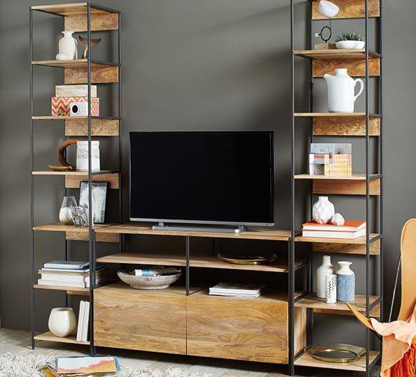Mẫu kệ sách gỗ khung sắt kết hợp với kệ tivi phòng khách