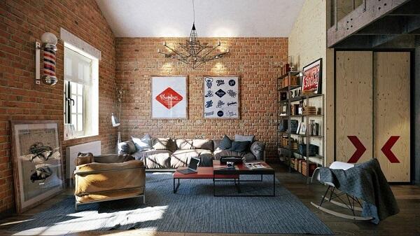 Sử dụng các loại gạch retro và xi măng trần cho thiết kế nội thất