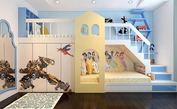 Cha mẹ có thể thiết kế không gian phòng ngủ với giường 2 tầng