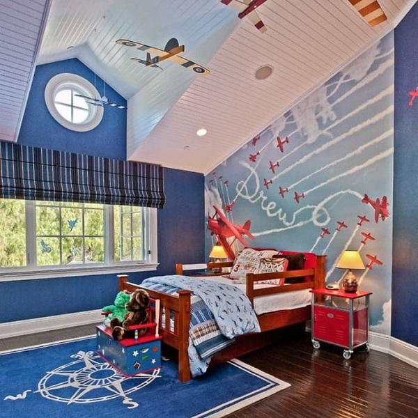 Sử dụng hình ảnh vũ trụ để trang trí phòng cho bé trai