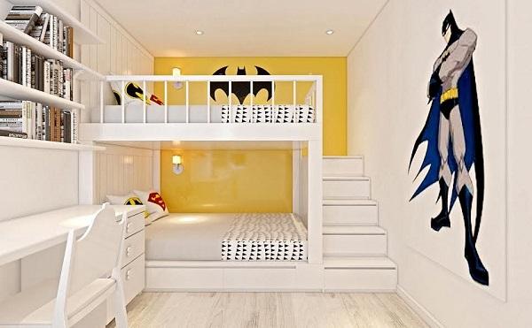 Thiết kế phòng ngủ 2 bé trai đẹp yêu thích nhân vật siêu anh hùng
