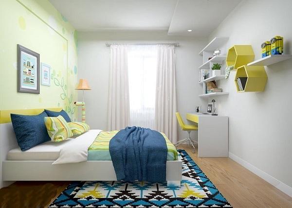 Thiết kế phòng ngủ con trai với gam màu nhẹ nhàng kết hợp hình khối