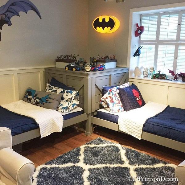 Trang trí phòng bé trai sinh đôi kiểu phong cách cá tính, năng động
