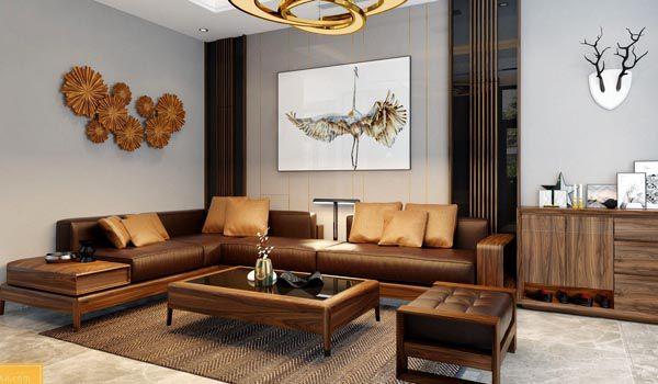 Bộ bàn ghế phòng khách gỗ óc chó mang lại không gian hiện đại và sang trọng