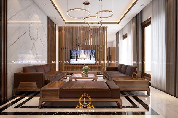 Mẫu sofa gỗ óc chó đẹp cho phòng khách hiện đại